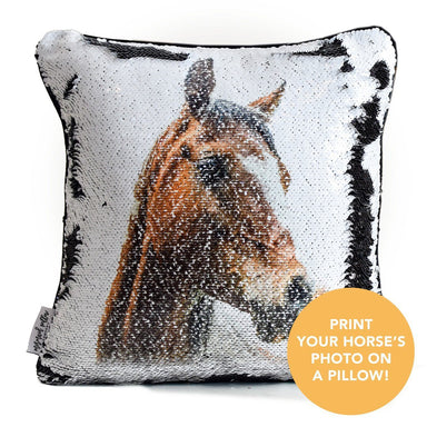 HorseHead Pillow: Print Your Horse's photo on pillow reversible SEQUINS! - Mermaid Pillow Co
