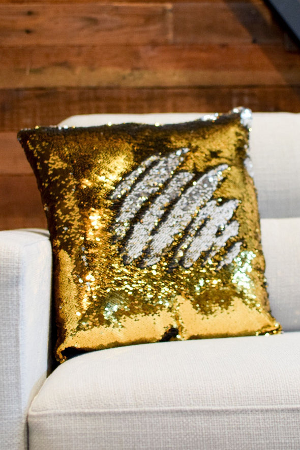 Silver & Dark Gold Sequin Mermaid Pillow - Mermaid Pillow Co