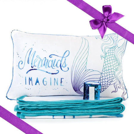 IMAGINE Mermaid Pillow & Velvet Blanket Set (+ FREE Bracelet) - Mermaid Pillow Co