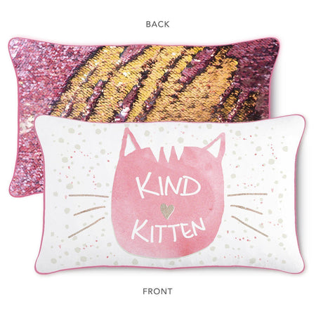 KIND Kitten Pillow w/ Reversible Pink and Gold Sequins - Mermaid Pillow Co