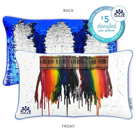 Logan Center Mermaid Pillow with Blue & Silver Reversible Sequins - Mermaid Pillow Co