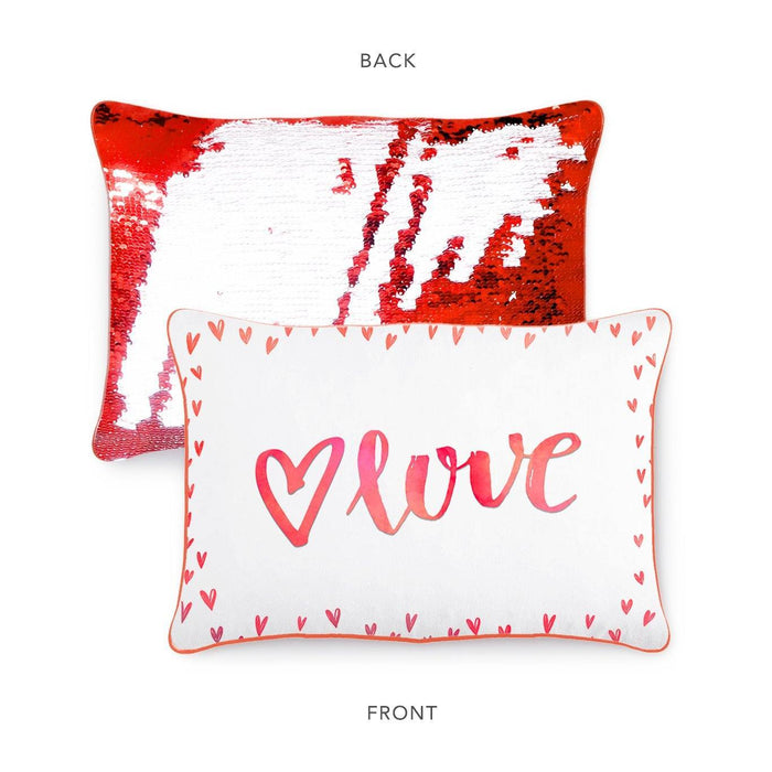 LOVE Pillow w/ Reversible Red & White Sequins - Mermaid Pillow Co