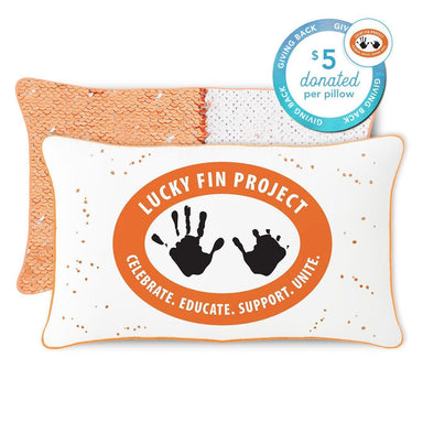 Lucky Fin Project Mermaid Pillow with Peach & White Reversible Sequins - Mermaid Pillow Co