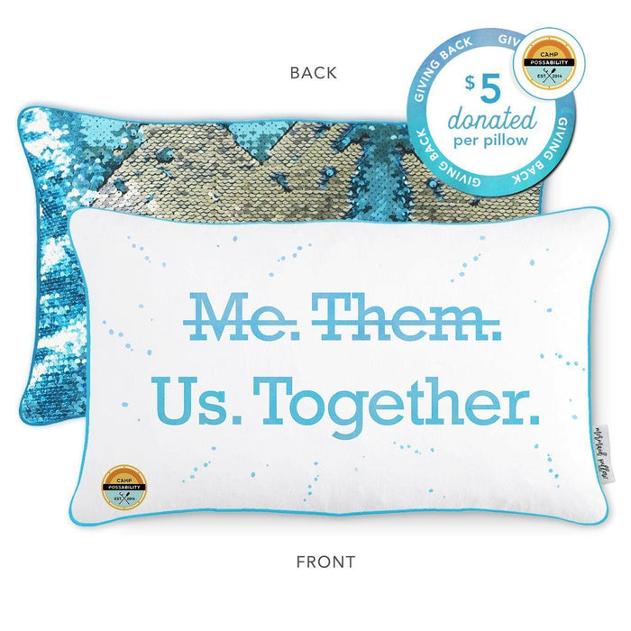 Camp Possability Mermaid Pillow with Lake Blue & Silver Reversible Sequins - Mermaid Pillow Co