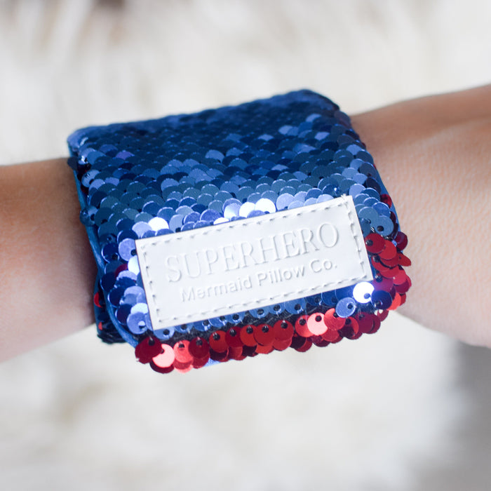 *Velcro Original* - Magic SUPERHERO Mermaid Bracelet w/ Reversible Sequins & Velvet Lining - Mermaid Pillow Co