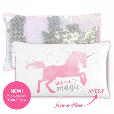 MAGICAL Unicorn Pillow w/ Reversible Iridescent & Silver Sequins - Mermaid Pillow Co