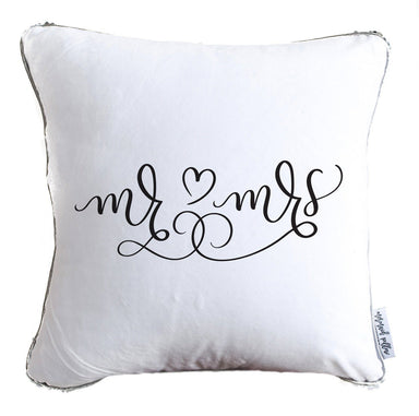 Mr. & Mrs. Hand Drawn Calligraphy Decorative Throw Pillow w/ Silver & White Reversible Sequins