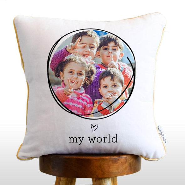 MY WORLD Photo Reversible Sequin Pillow