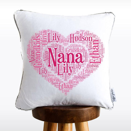 NANA & GRANDKIDS Heart Reversible Sequin Pillow