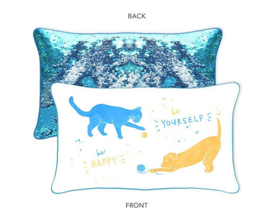 Be Happy to Be Yourself Mermaid Pillow w/ Lake Blue & Silver Reversible Sequins - Designed by Maya (Age 9) - Mermaid Pillow Co