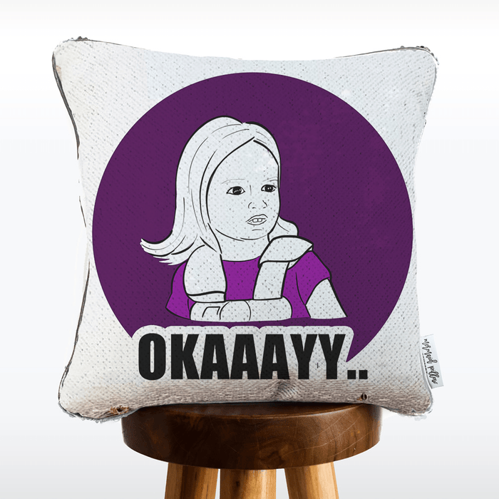 Okaaayy Side Eye Girl Reversible Sequin Pillow | COVER ONLY (Inserts Sold Separately)