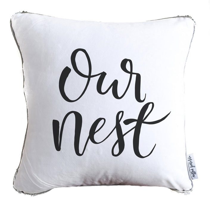 Our Nest Calligraphy Decorative Throw Velvet Pillow w/ Silver & White Reversible Sequins