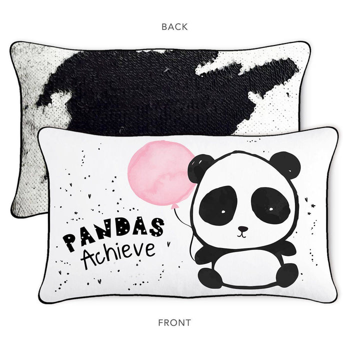 ACHIEVE Panda Pillow w/ Reversible Bold Black and White Sequins - Mermaid Pillow Co
