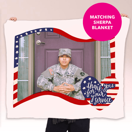 Thank You For Your Service Patriotic Sherpa Blanket