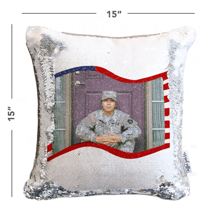 "*Add Your Photo* ""Thank You For Your Service"" Patriotic Mermaid Pillow"