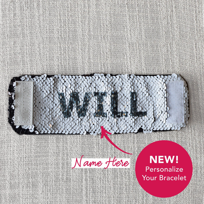 *New* Personalized Sequin Bracelet (Black & White Sequins are reversible ) - Mermaid Pillow Co