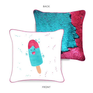 SPARKLY POPSICLE Mermaid Pillow w/ Burgundy & Teal Reversible Sequins - Designed by Akira (Age 7)