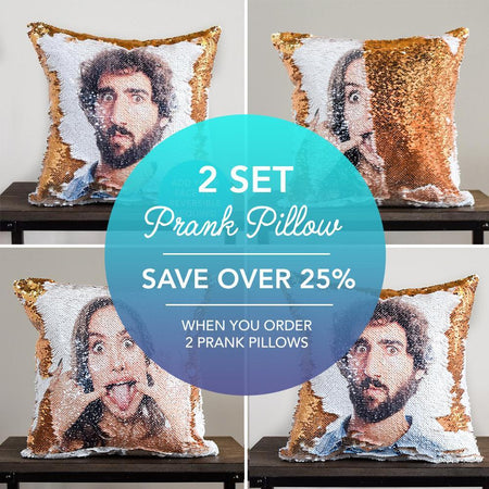 2 SET: PrankPillows: Your HIDDEN FACE on Reversible Sequin Pillow Cover!