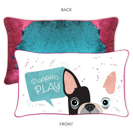 Puppies Play Pillow w/ Reversible Turquoise and Burgundy Sequins