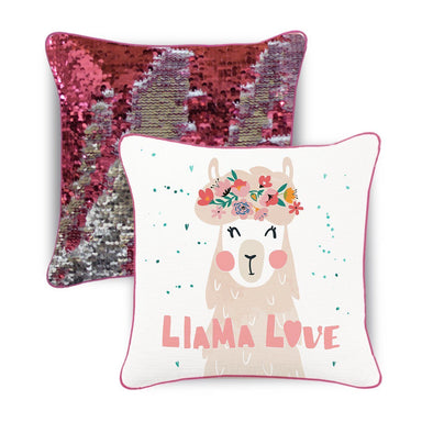 Llama LOVE Mermaid Pillow w/ Reversible Pink & Silver Sequins - Mermaid Pillow Co