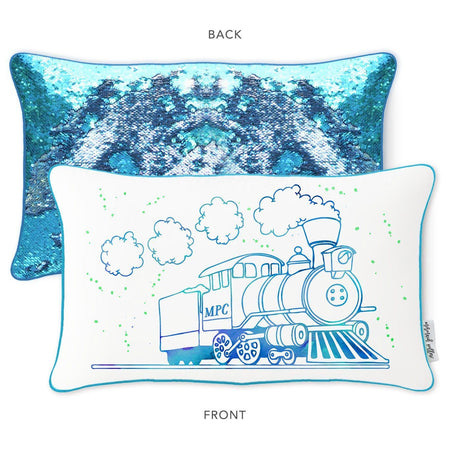 Railway Train Mermaid Pillow with Blue & Silver Reversible Sequins - Mermaid Pillow Co