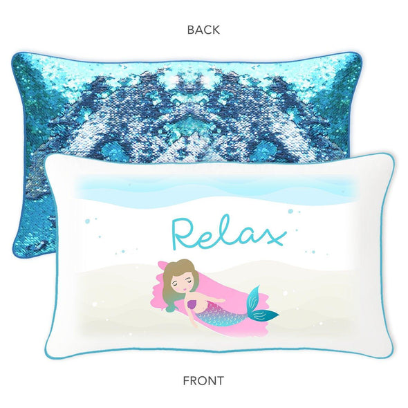 Relax Pillow w/ Lake Blue and Silver Sequins - Designed by Ella (Age 11) - Mermaid Pillow Co