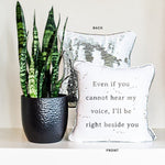 RIGHT BESIDE YOU Mermaid Pillow Cover w/ White & Silver Sequins