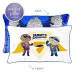 Sammy's Superheroes Mermaid Pillow with Blue & Gold Reversible Sequins - Mermaid Pillow Co