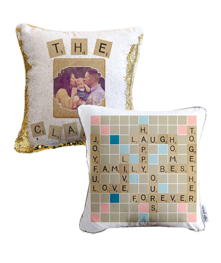 Family Scrabble Personalized Photo Sequin Pillow
