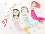 Determined Mermaid Pillow w/ Burgundy & Teal Reversible Sequins - - Designed by Sarah (Age 7) - Mermaid Pillow Co