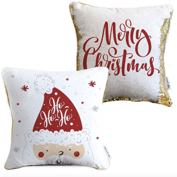 Ho Ho Ho Merry Christmas 2-sided Santa Claus Holiday Pillow with White & Gold Reversible Sequins