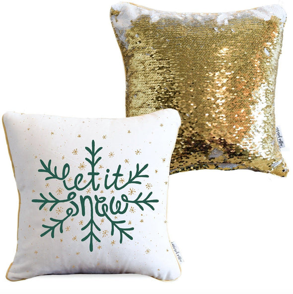 LET IT SNOW Holiday Pillow with White & Gold Reversible Sequins