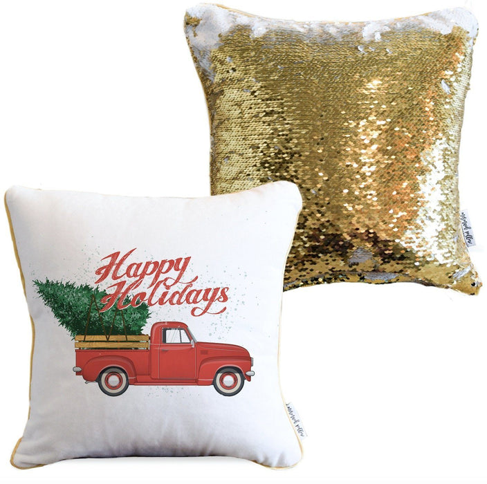 Vintage Christmas Truck Holiday Pillow with White & Gold Reversible Sequins