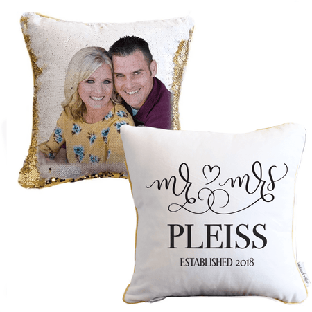 *New!* Mr. & Mrs. Personalized Photo Sequin Pillow Cover!