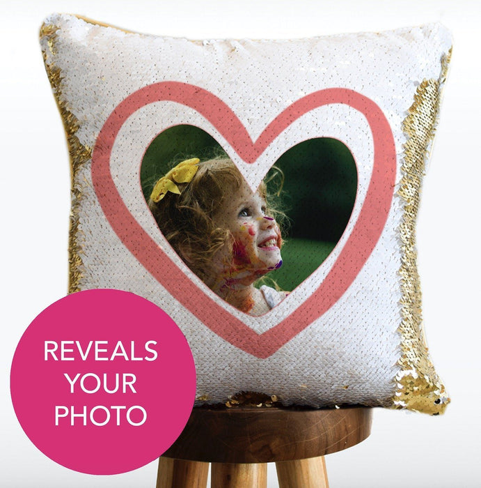 SHE IS GOING PLACES Mermaid Pillow w/ Gold & White Sequins [2 Sided with Photo Custom]