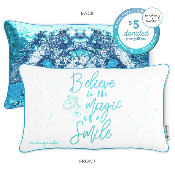 Sending Smiles Mermaid Pillow with Lake Blue & Silver Reversible Sequins - Mermaid Pillow Co