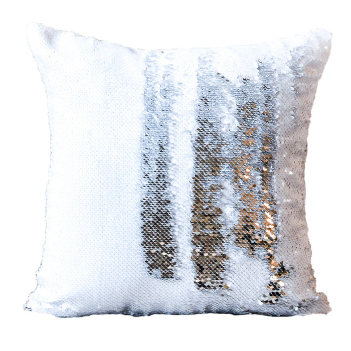 Sequin Sublimation Pillows & Cases (Satin Back) | Sublimation Blanks |  Silver & White [$5 00 - $10 00]