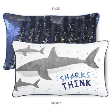 THINK Shark Pillow w/ Reversible Nautical Navy and Silver Sequins - Mermaid Pillow Co