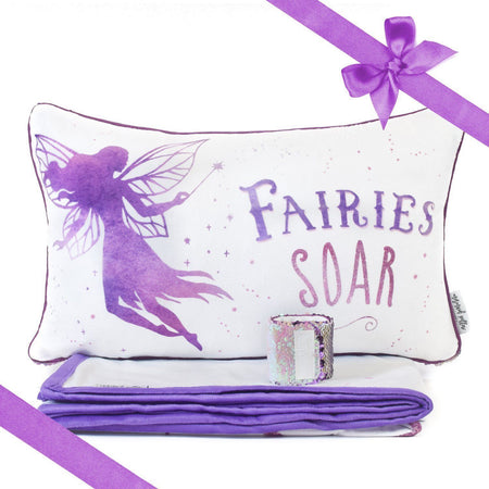 SOAR Fairy Pillow & Velvet Blanket Set (+ FREE Bracelet) - Mermaid Pillow Co