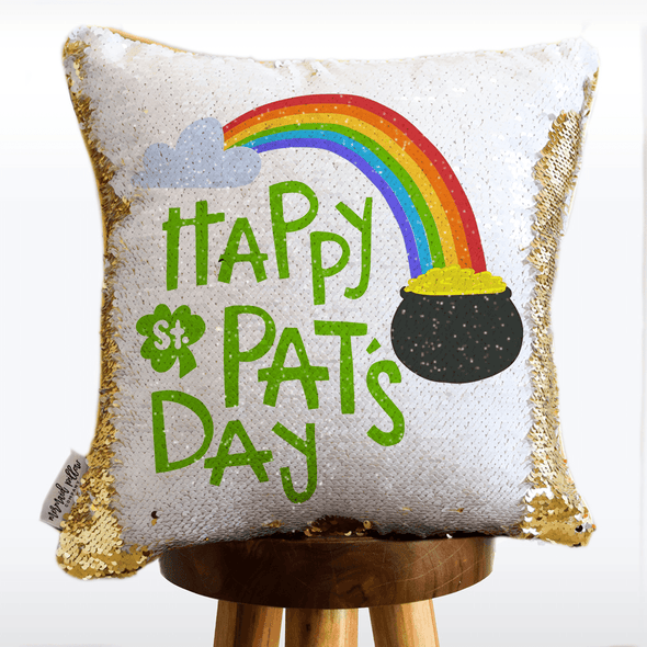 St. Patrick's Day Mermaid Pillow w/ Reversible White & Gold Sequins
