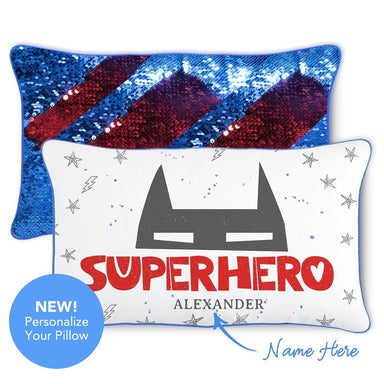 SUPERHERO Pillow w/ Reversible Blue & Red Sequins - Mermaid Pillow Co