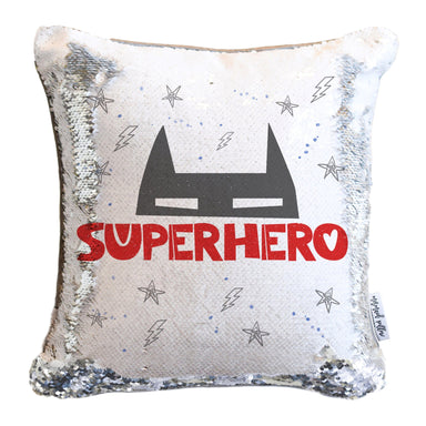 SUPERHERO Mermaid Pillow w/ Silver & White Sequins