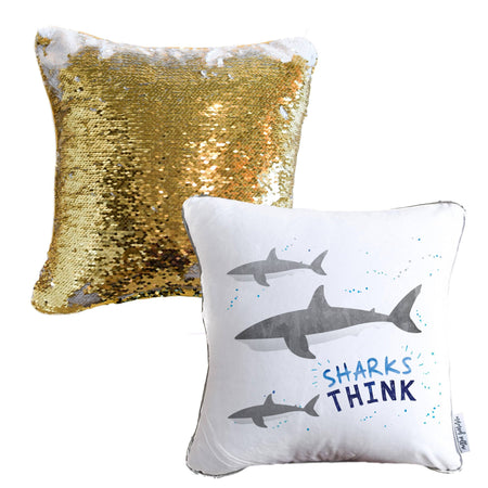 SHARK Mermaid Pillow w/ Gold & White Sequins