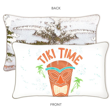Tiki Time Mermaid Pillow w/ Champagne & White Reversible Sequins - Designed by James (Age 7) - Mermaid Pillow Co
