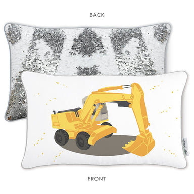 DIG IT Excavator Truck Mermaid Pillow w/ Reversible White & Silver Sequins - Mermaid Pillow Co