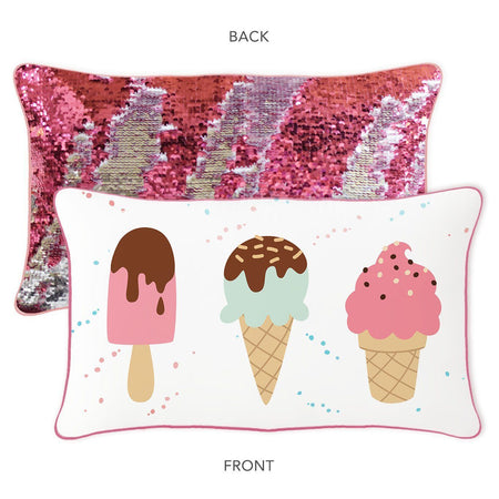 ICE CREAM CONE Mermaid Pillow w/ Reversible Pink & Silver Sequins - Mermaid Pillow Co