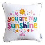 You Are My Sunshine Decorative Throw Pillow w/ Reversible Silver & White Sequins