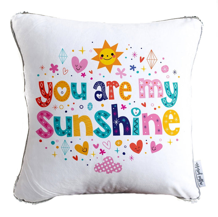 You Are My Sunshine Decorative Throw Pillow w/ Reversible Gold & White Sequins
