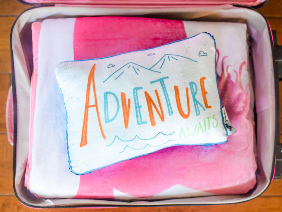 ADVENTURE Awaits Travel Mermaid Pillow w/ Lake Blue & Silver Reversible Sequins - Mermaid Pillow Co