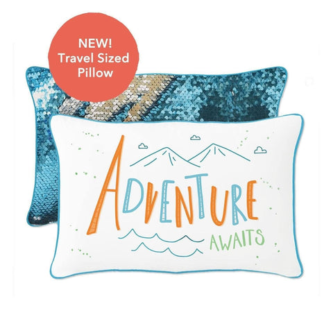 ADVENTURE Awaits Travel Mermaid Pillow w/ Lake Blue & Silver Reversible Sequins